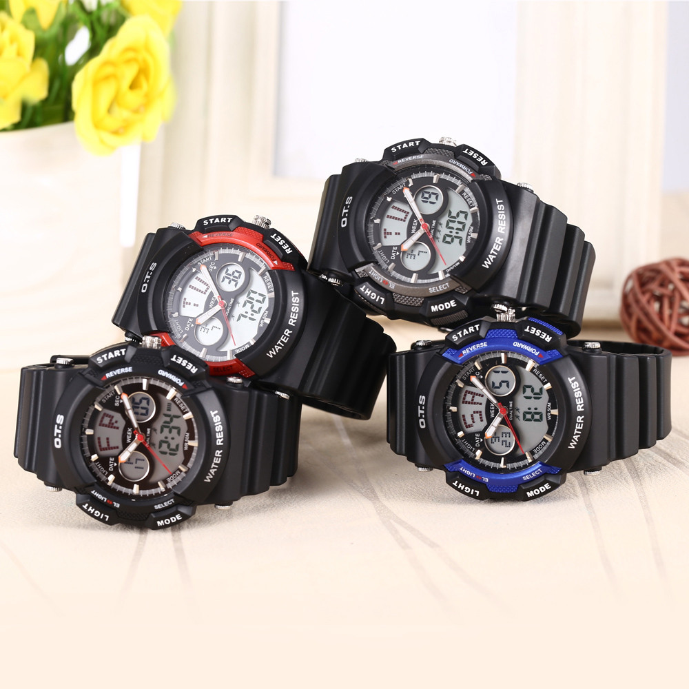 OTS T8003G Dual Movt Kids Quartz Watch Date Day Chronograph Display LED Digital Wristwatch