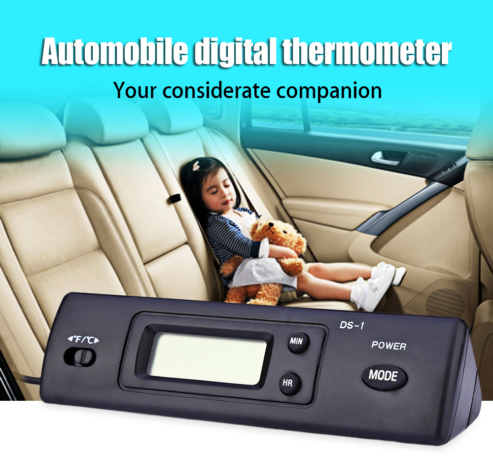 DS - 1 Automobile Digital Thermometer LCD Clock Display Hand-held Prismatic Design