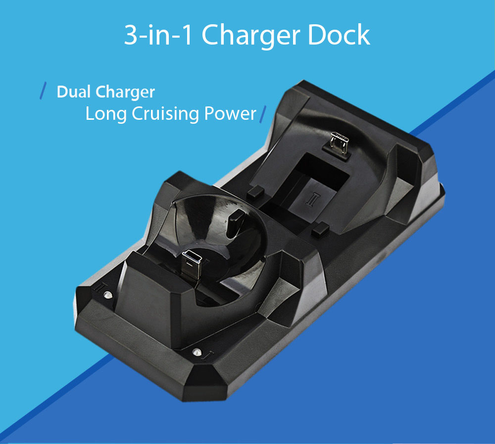 3-in-1 Dual Charging Port for PS 4 / 3 / MOVIE