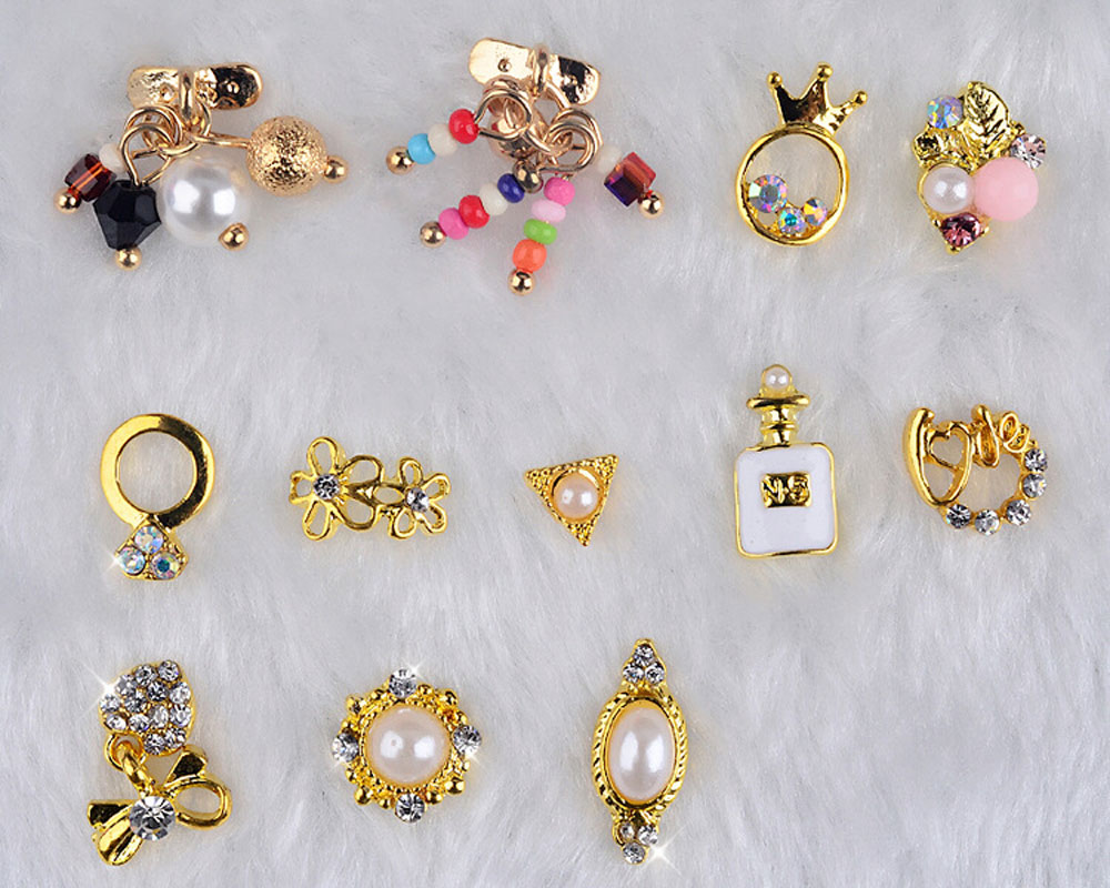 12pcs 3D Nail Gold Flower Ring Decoration Alloy Pearl Jewelry Rhinestone