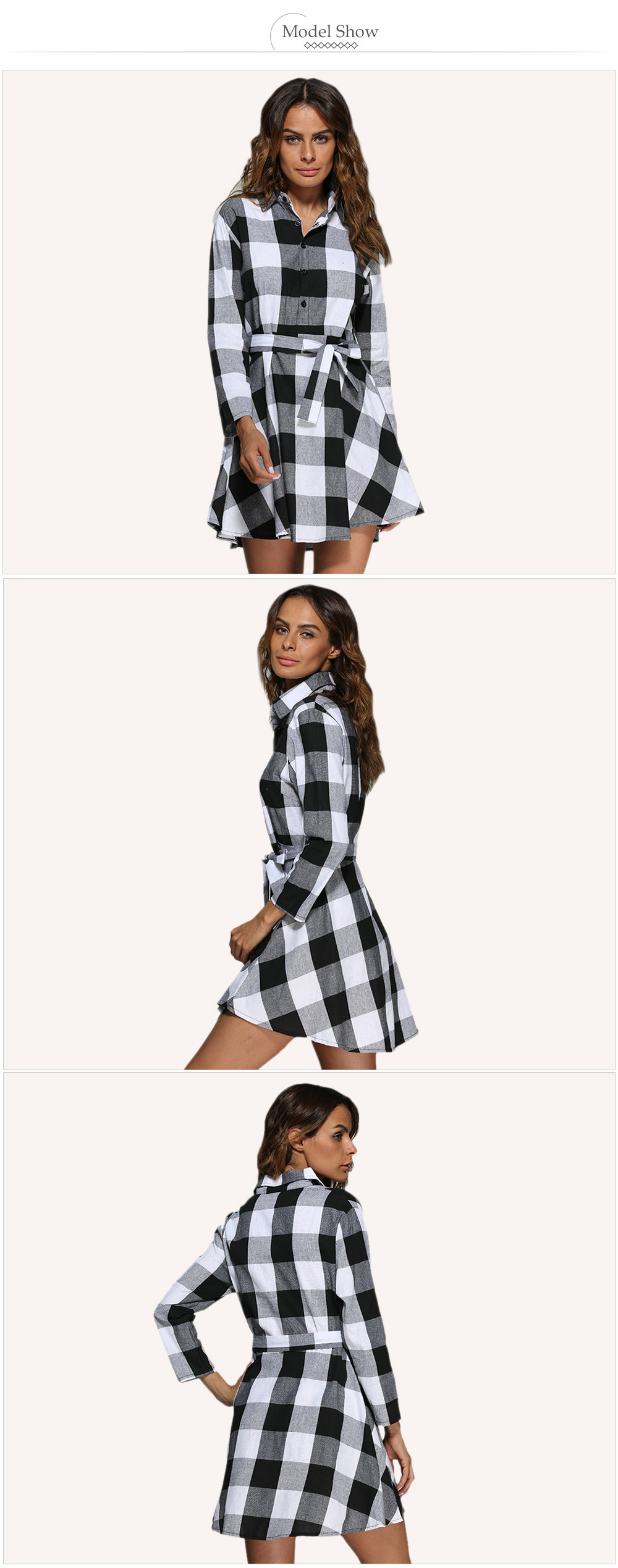 Trendy Turn Down Collar Color Block A-Line Women Mini Plaid Dress