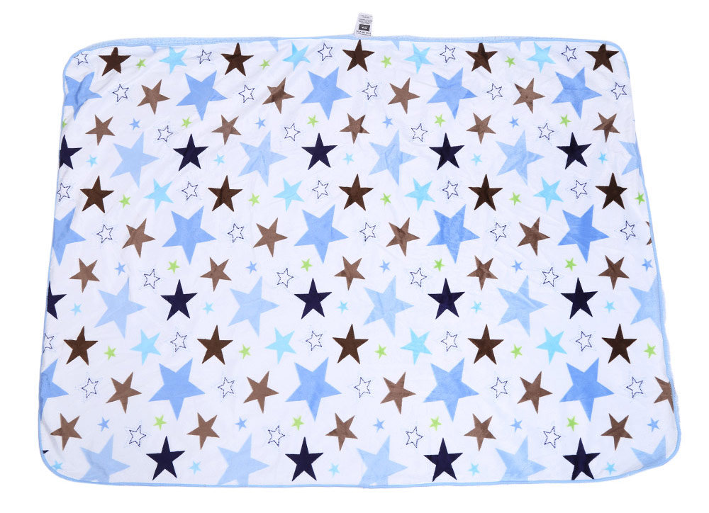 Sweet Soft Baby Child Geometric Star Print Double Layers Cover Hold Blanket