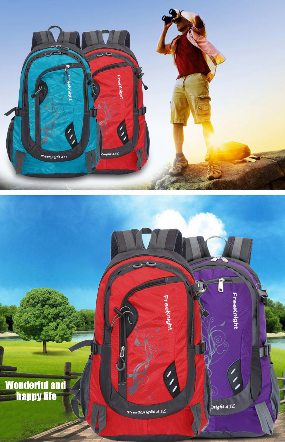 FREEKNIGHT FK0216 45L Water Resistant Portable Backpack for Outdoor Climbing Cycling Hiking
