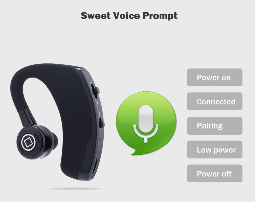 V9 Bluetooth V4.0 Handsfree Earphone Support Voice Prompt