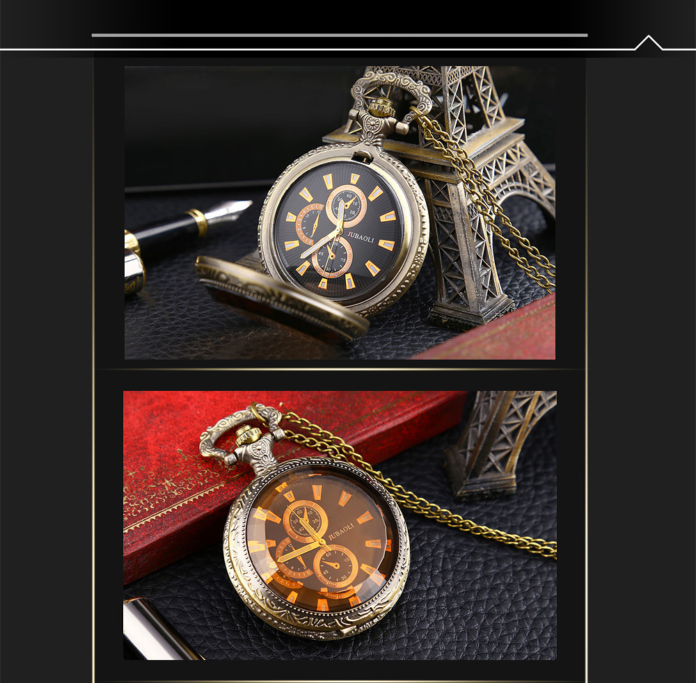 JUBAOLI 1158 Retro Pocket Quartz Watch Decorative Sub-dial Luminous Pointer Necklace Wristwatch