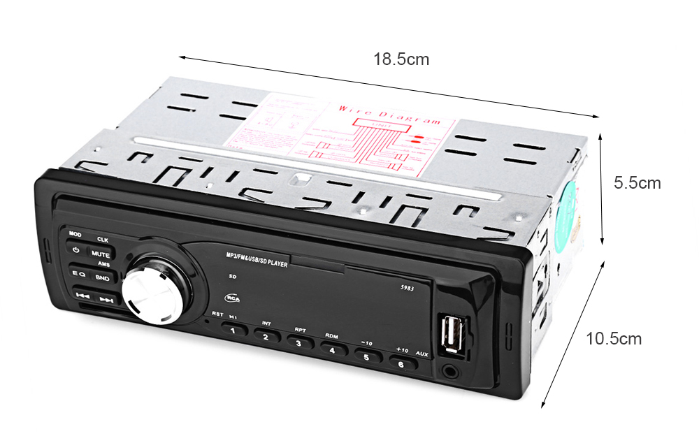5983 Car Radio 12V Auto Audio Stereo MP3 Player Support FM SD AUX USB