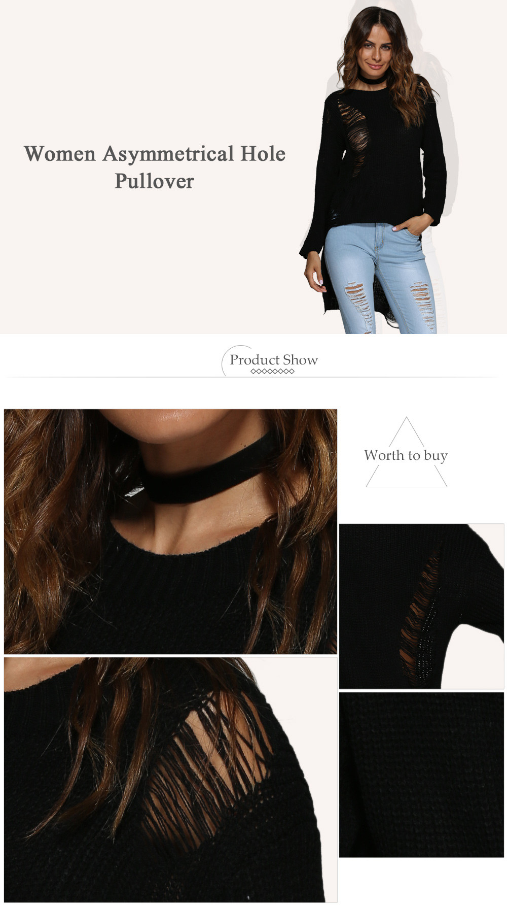 Brief Round Collar Frayed Pure Color Asymmetrical Women Pullover