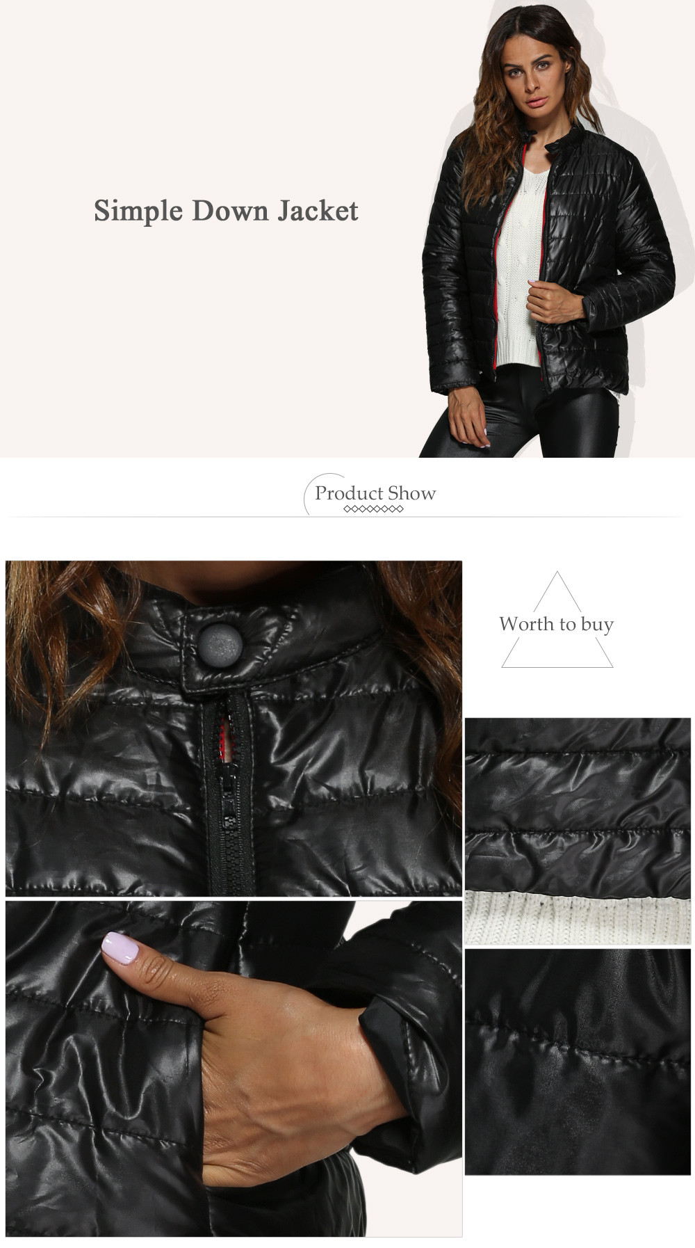 Brief Stand Collar Pure Color Women Down Coat