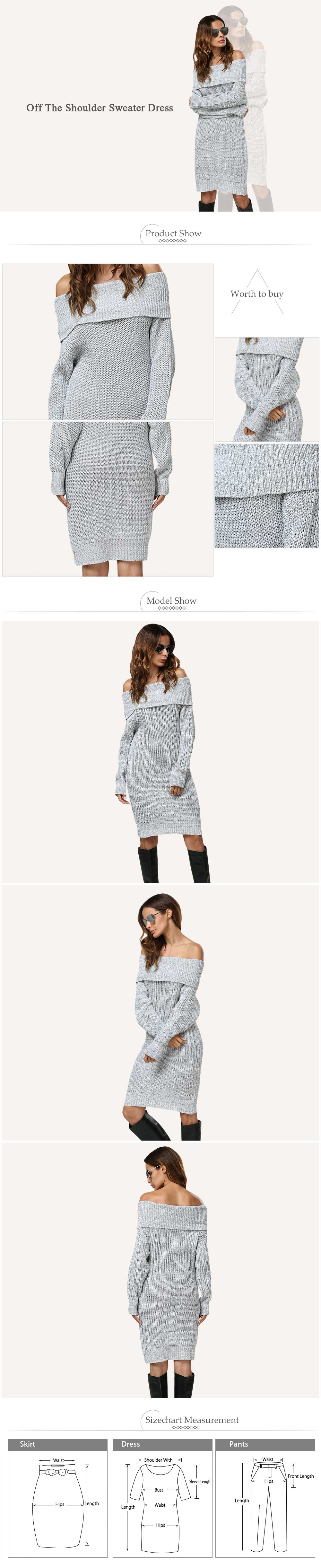 Sexy Off The Shoulder Pure Color Women Sweater Dress