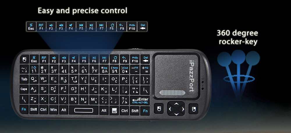 iPazzPort KP - 810 - 19 2.4G Mini Wireless QWERTY Keyboard Touchpad
