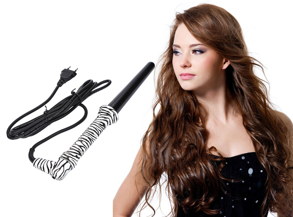 DODO Professional 25mm Zebra Color Cone Hair Wave Wand Rollers Iron Electric Heat Ceramic Curler