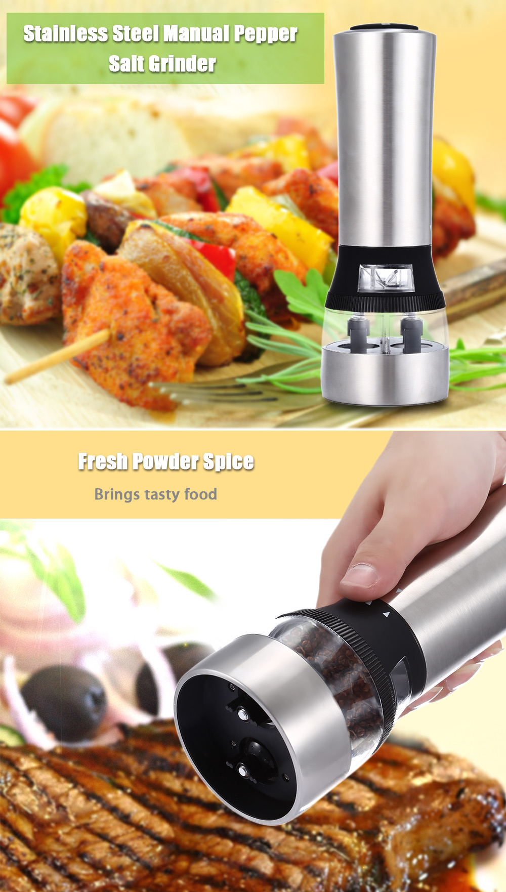 2 in 1 Electric Stainless Steel Pepper Salt Mill Grinder