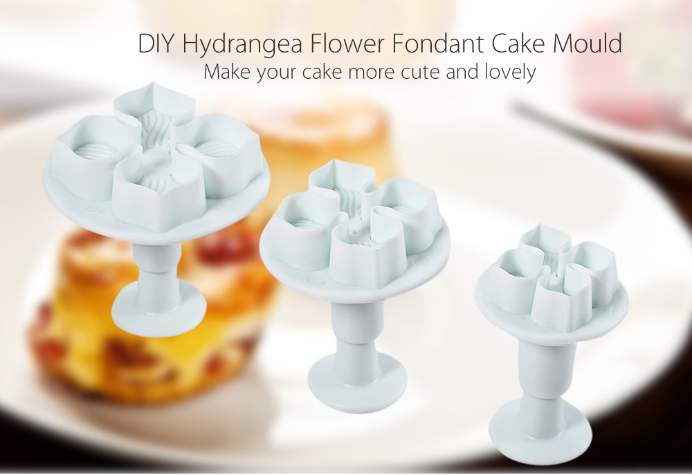 3pcs Plastic DIY Hydrangea Flower Fondant Cake Mould Plunger Cutter Tool for Kitchen Baking
