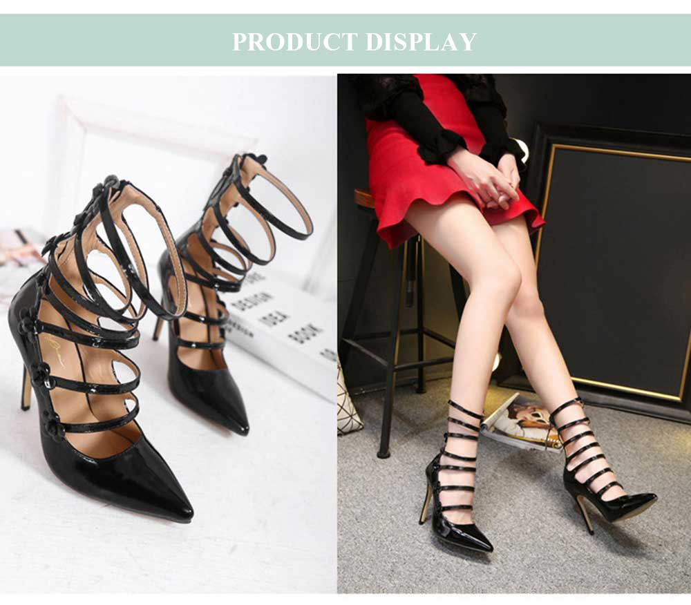 Fashionable Floral Decoration Pointed Toe Thin High Heel Shoes for Women