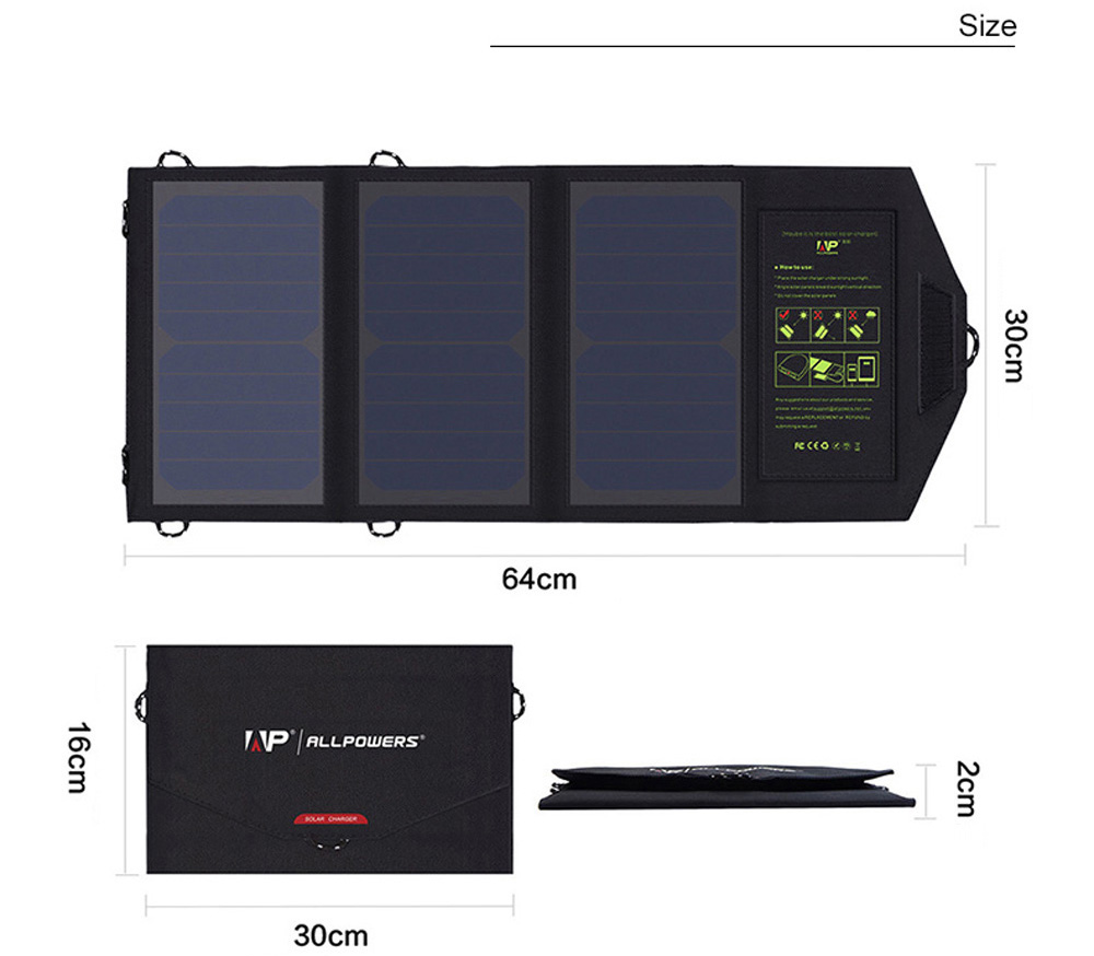 ALLPOWERS 5V 21W Monocrystalline Silicon Solar Panel Folding Charging Bag