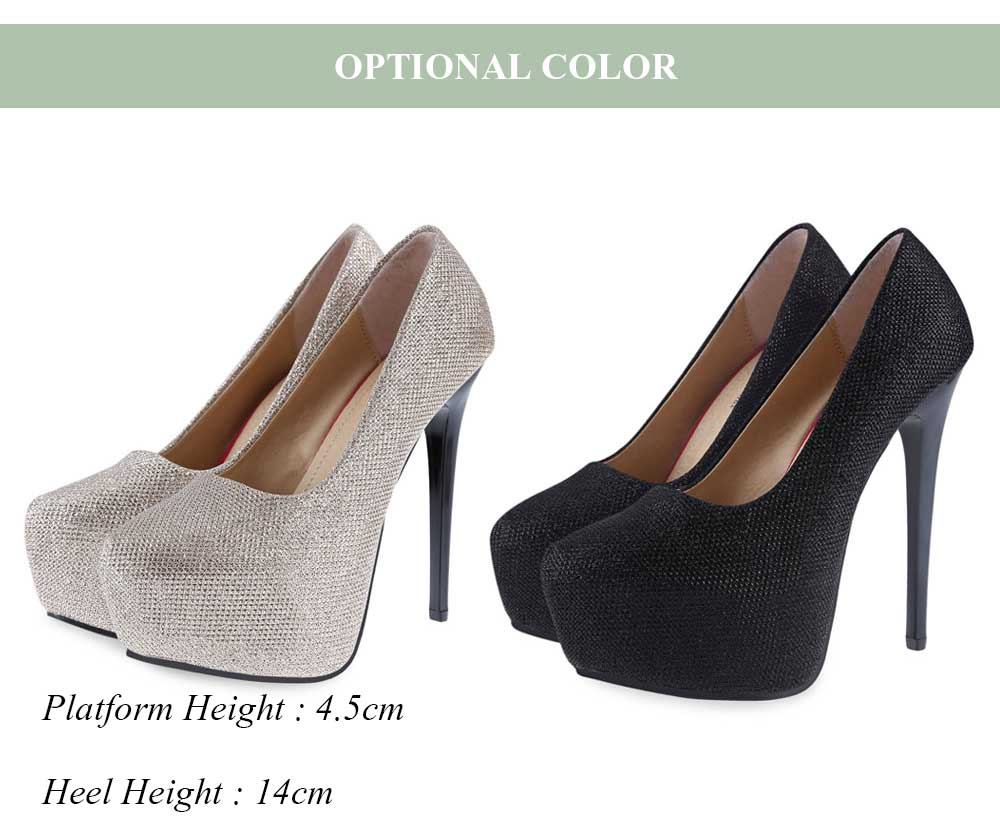 Fashionable Bright Wire Design Round Toe Thin High Heel Shoes for Women