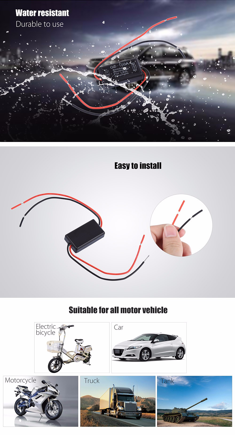 GS - 100A Universal LED Strobe Stoplight Controller Flasher System Director