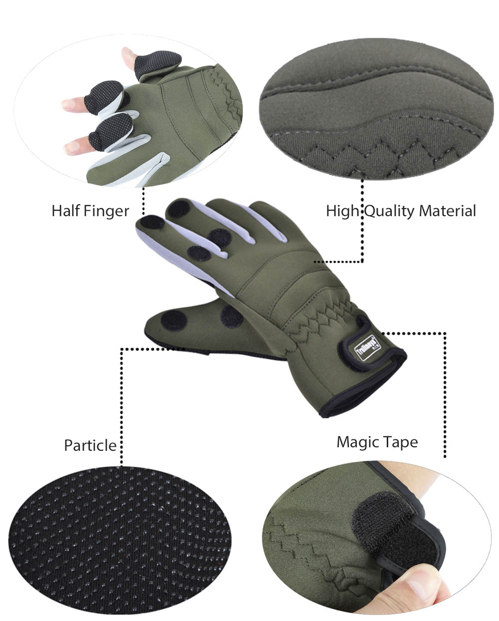 TSURINOYA Paired Outdoor Warm Protection Windproof Water Resistant Fishing Full Finger Glove