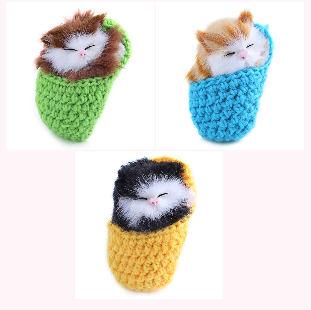 Cute Simulation Sounding Sleeping Cat Doll Toy with Slipper Nest Birthday Christmas Gift