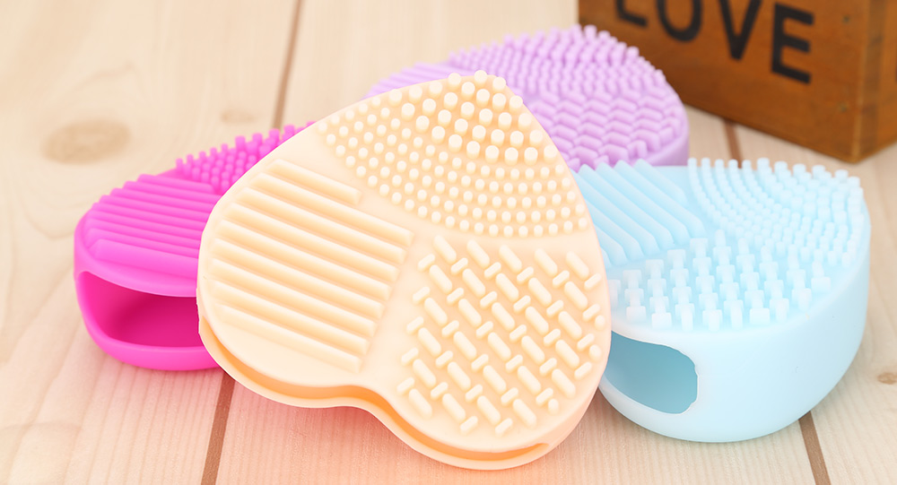 Cosmetic Cleaning Tool Silicone Heart Shaped Makeup Brush Cleaner Wash Glove Scrubber