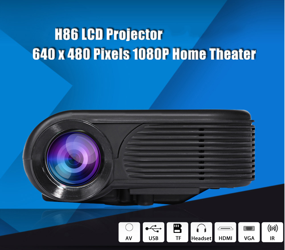 H86 LCD Projector 1000 Lumens 640 x 480 Pixels 1080P HD Media Player