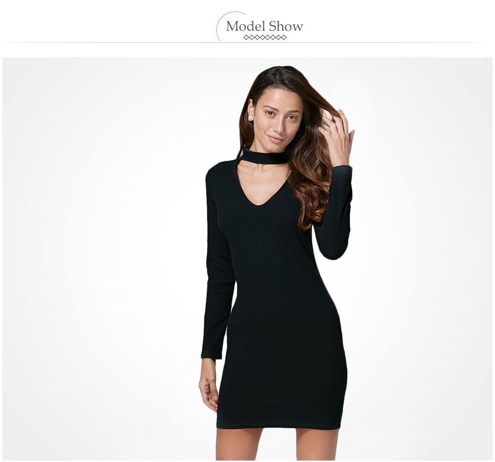 Brief Halter Cut Out Bodycon Women Black Dress