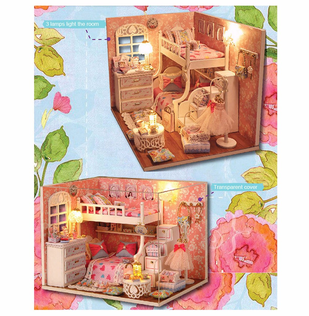 CUTEROOM H - 006 DIY Wooden House Furniture Handcraft Kit with Cover LED Light - Dream Seeker