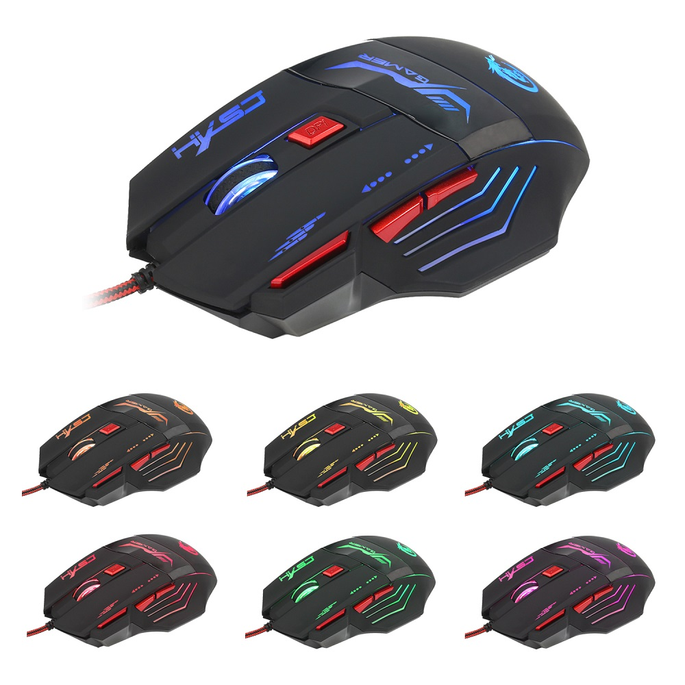HXSJ H100 3200DPI Wired Optical Game Mouse with LED Light