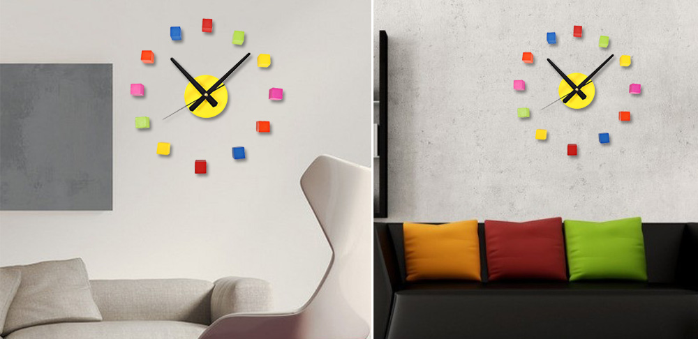 Sangtai6168s Creative 3D Colorful Cube Mute DIY Wall Clock Home Decorative Wood Sticker Watch