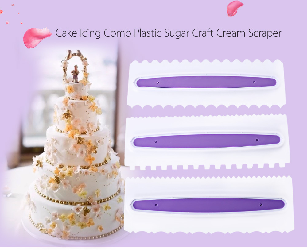 3pcs Cake Icing Comb Plastic Sugar Craft Cream Scraper Smooth Baking Pastry Tool