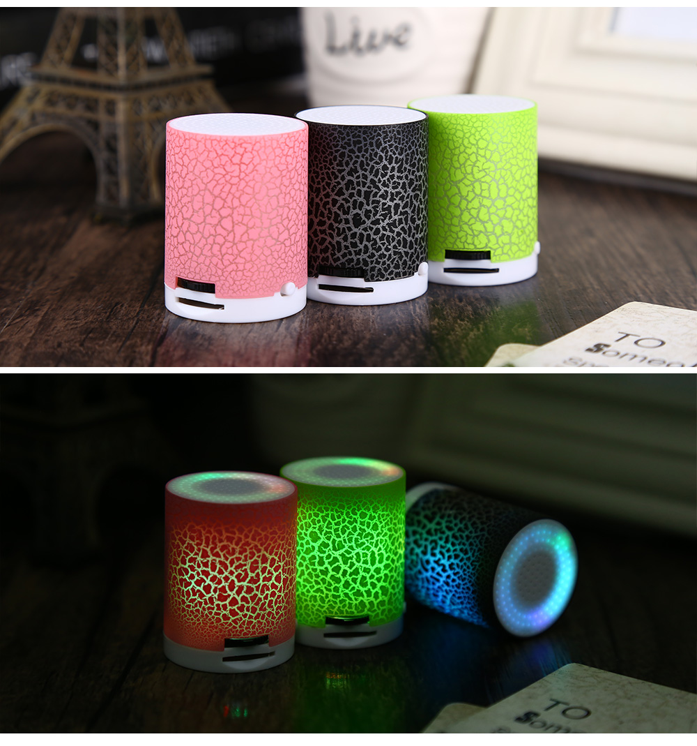Portable Flash LED Light Crack Pattern Support TF Card MP3 Player with Speaker