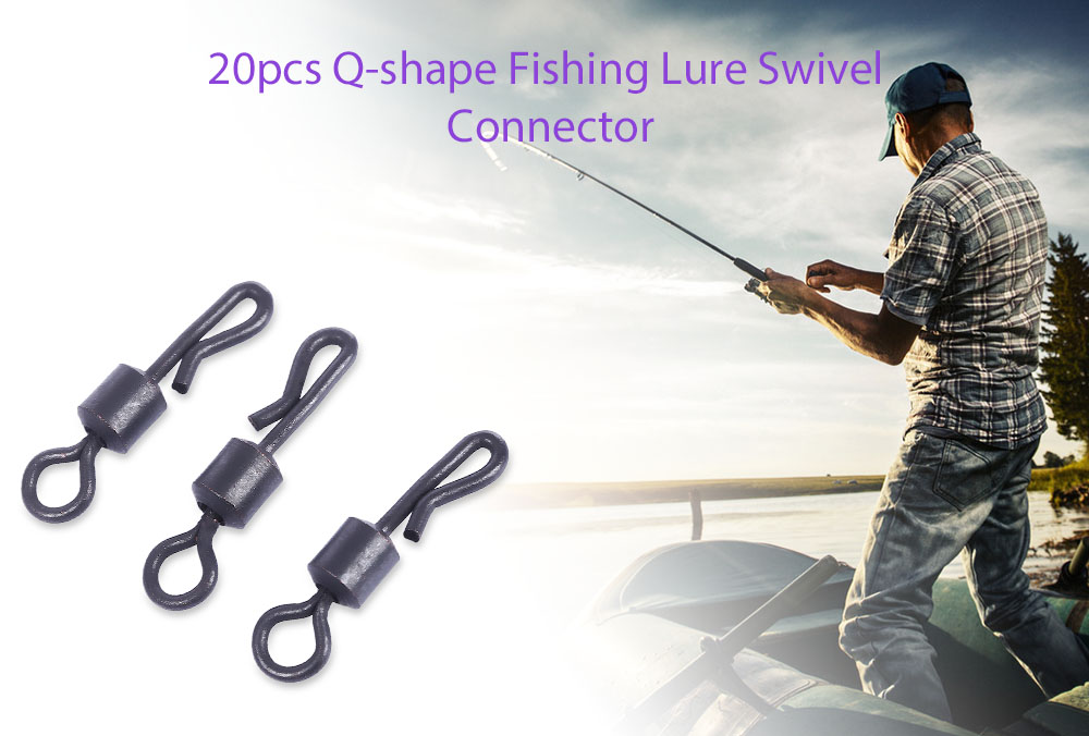20pcs Q Shaped Fishing Lure Swivel Connector Fish Tackle