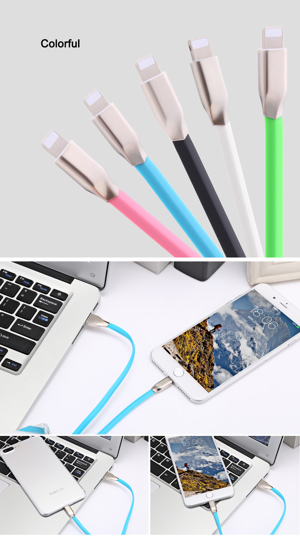 8 Pin Aluminum Alloy Copper Core Charge Data Transfer Cable 0.9M