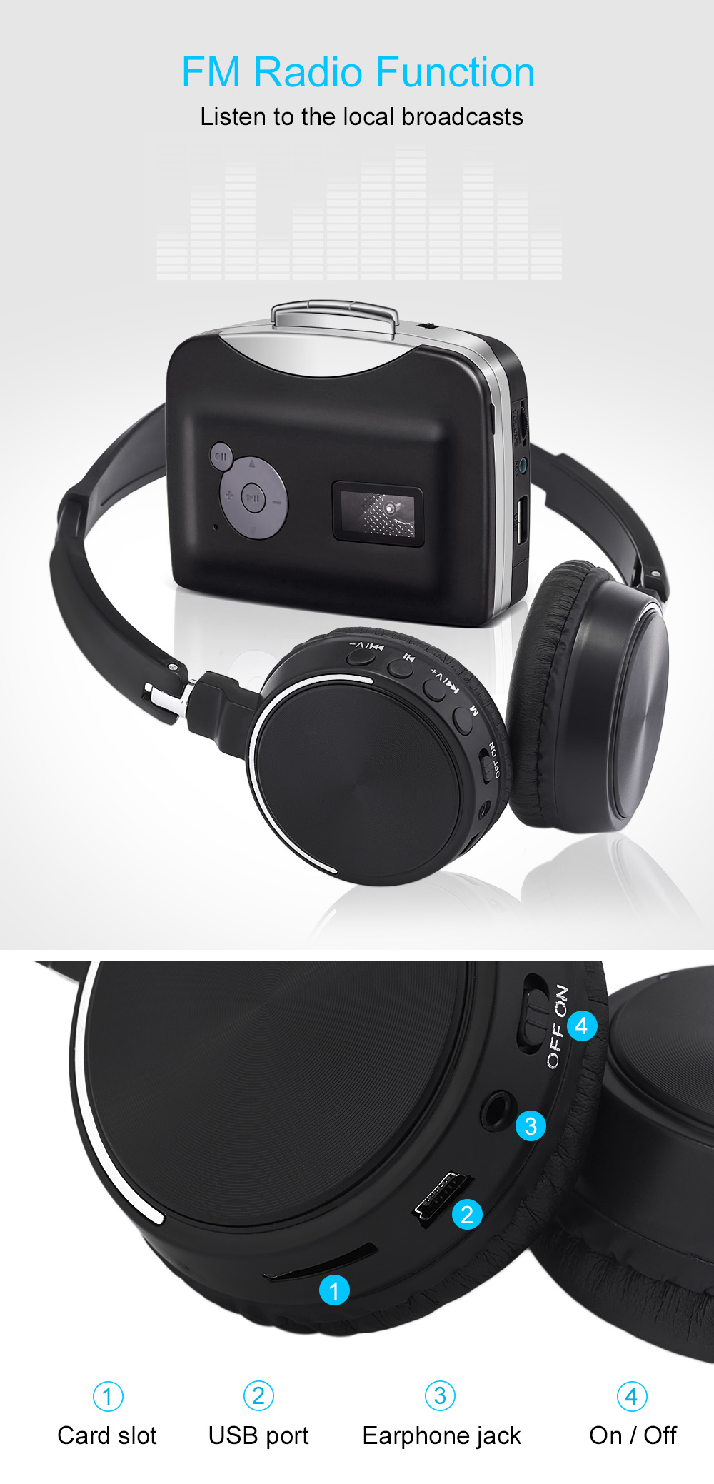 BT - 815 Wireless Stereo Bluetooth V4.0 Headphone with FM Radio TF Card Slot