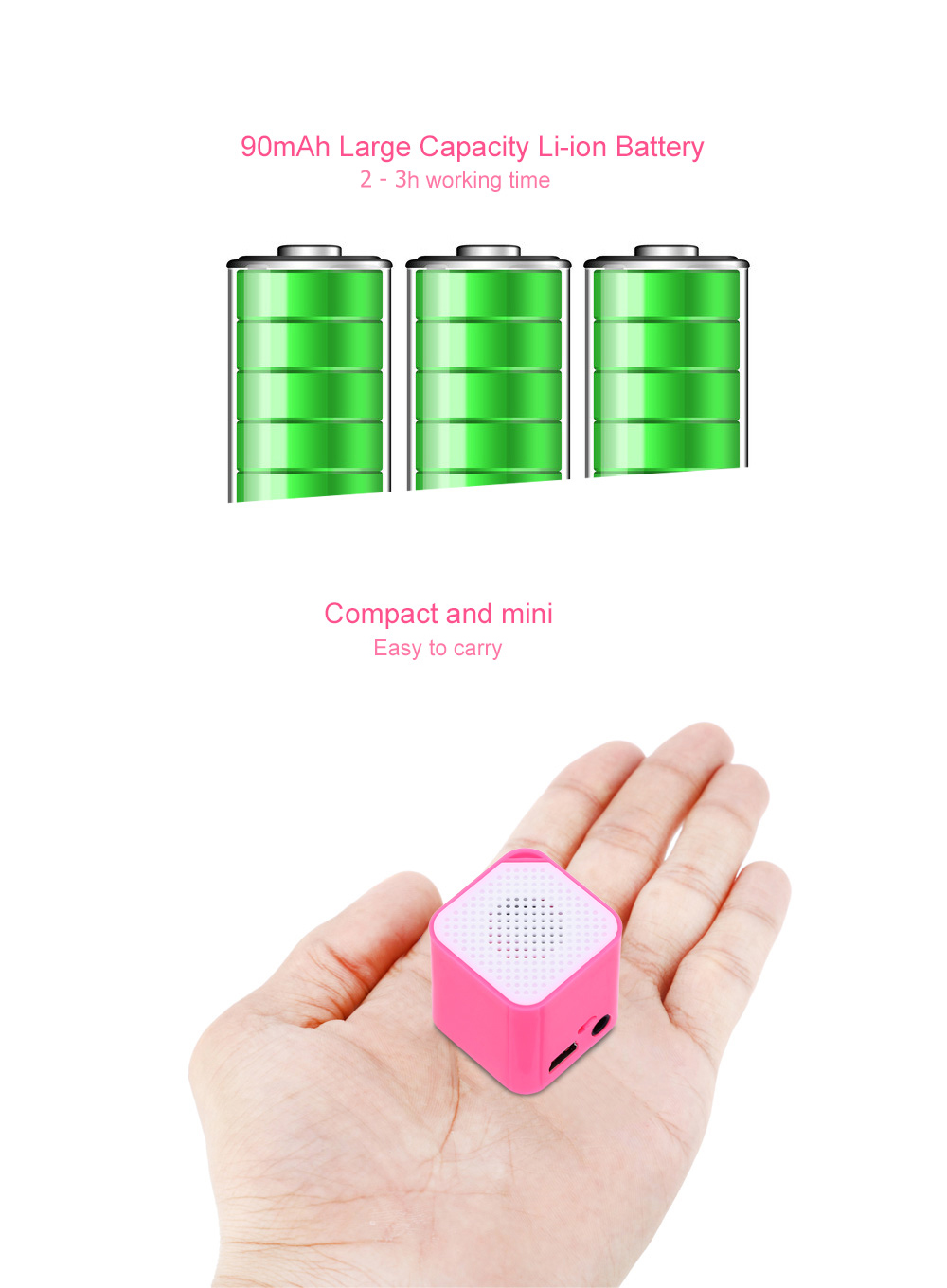Portable Mini Support 16GB TF Card MP3 Player with Speaker
