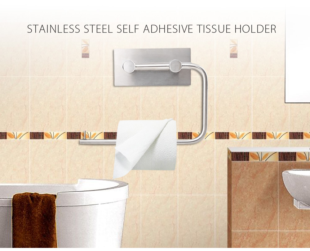 Stainless Steel Wall Mount Strong Adhesive Tape Tissue Roll Holder