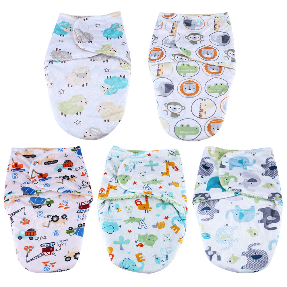 JUST TO YOU Sweet Soft Infant Newborn Baby Cartoon Print Swaddling Pack Towel Sleeping Bag Hold Blanket