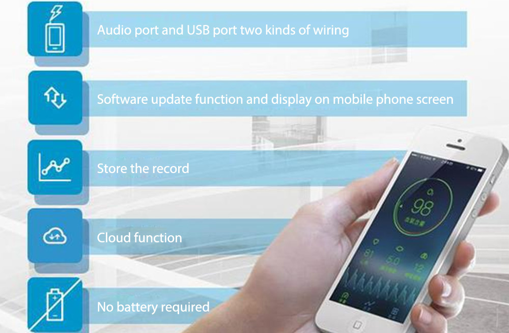 Yumai Fingertip Smart Blood Pulse Oxygen Monitoring APP Use SpO2 Rate Scales