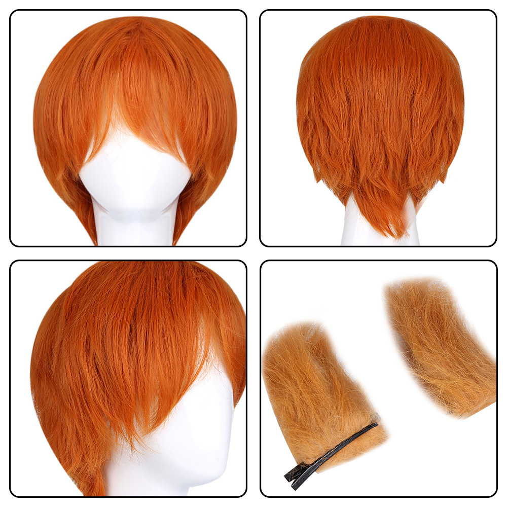 Funny Animal Cosplay Fox Orange Wig with Double Ears for Halloween Christmas Carnival Party Costume