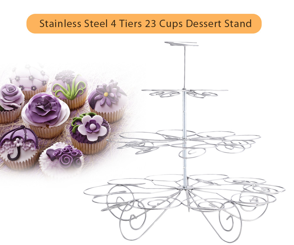 Stainless Steel 4 Tiers 23 Cups Cupcake Stand for Birthday Party Dessert Display