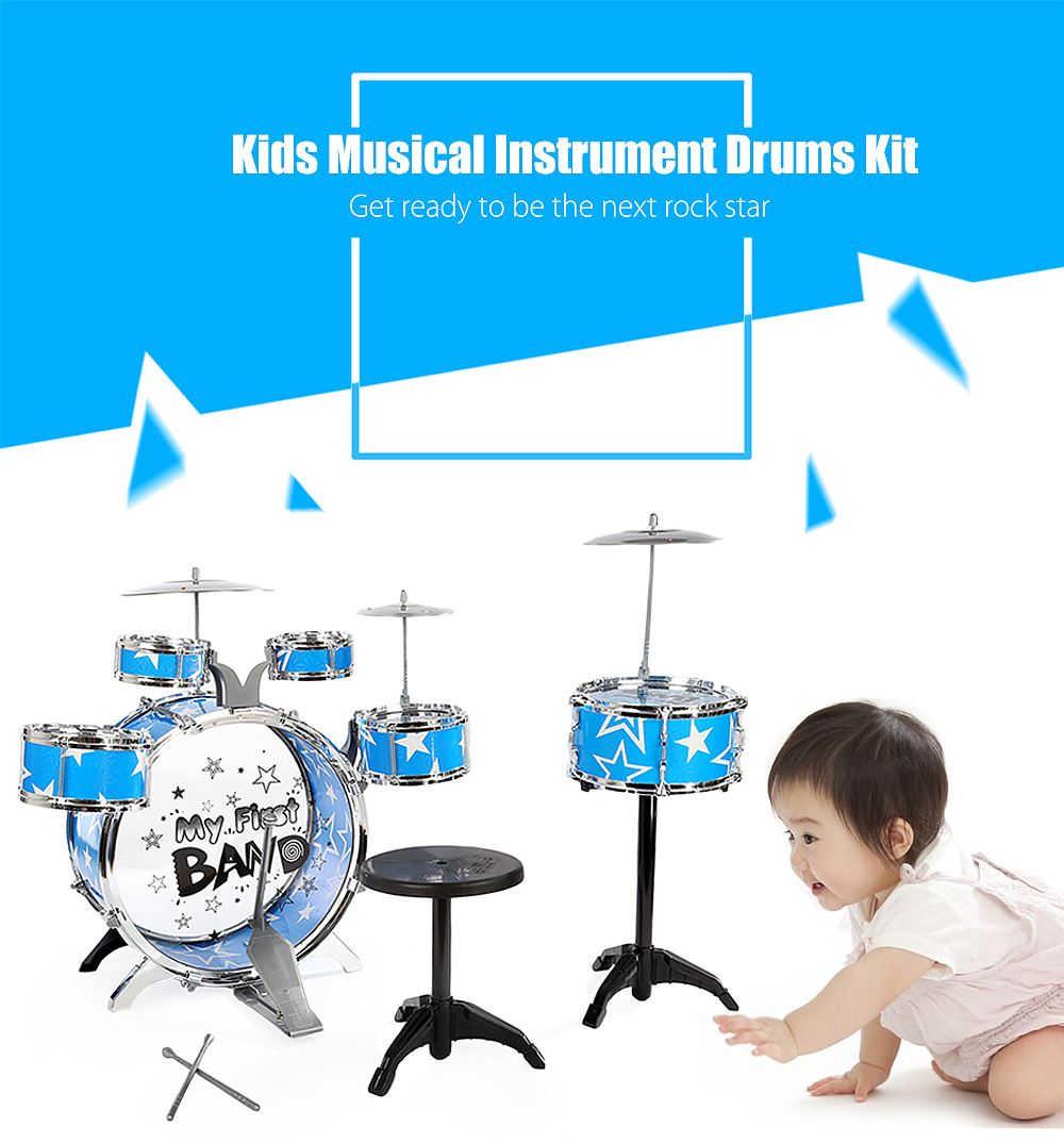 Children Drums Kit Musical Instrument Toy with Cymbals Stool Christmas Birthday Gift