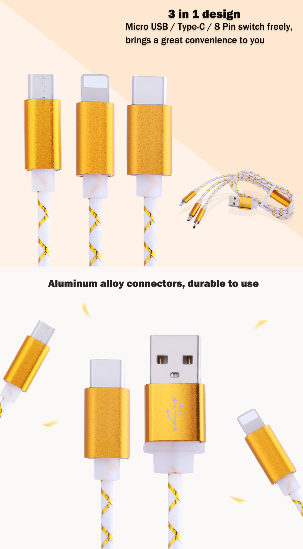 3 in 1 Micro USB + Type-C + 8 Pin Aluminum Alloy Connector Charge Cable 1m