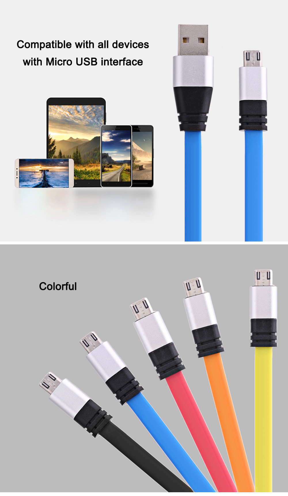 Micro USB Aluminum Alloy Noodle Charge Data Transfer Cable 1M