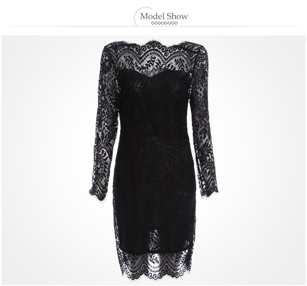 Elegant Round Collar Lace Spliced Backless Women Sheath Black Dress