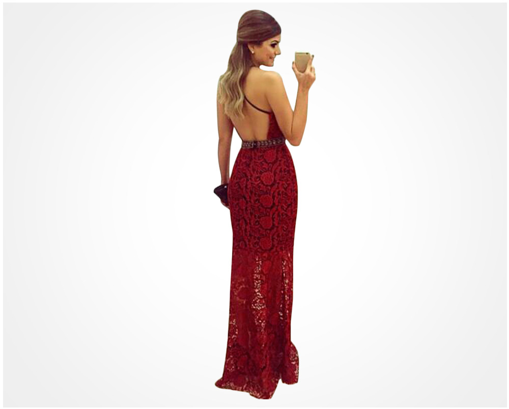 Sexy Halter Neck Backless Lace Women Maxi Fishtail Dress
