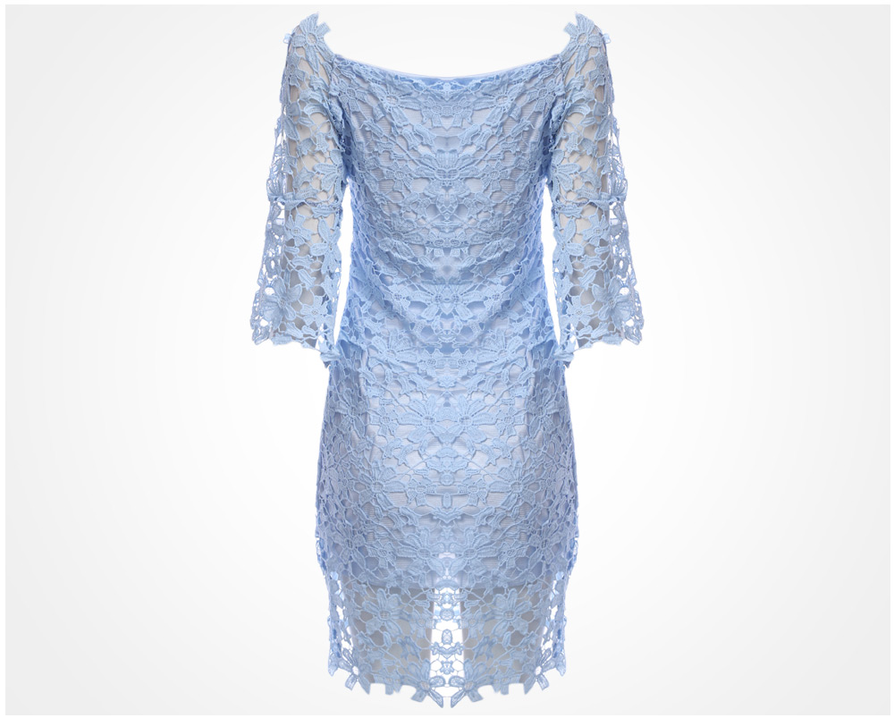 Sweet Off The Shoulder Beaded Flare Sleeve Women Lace Dress