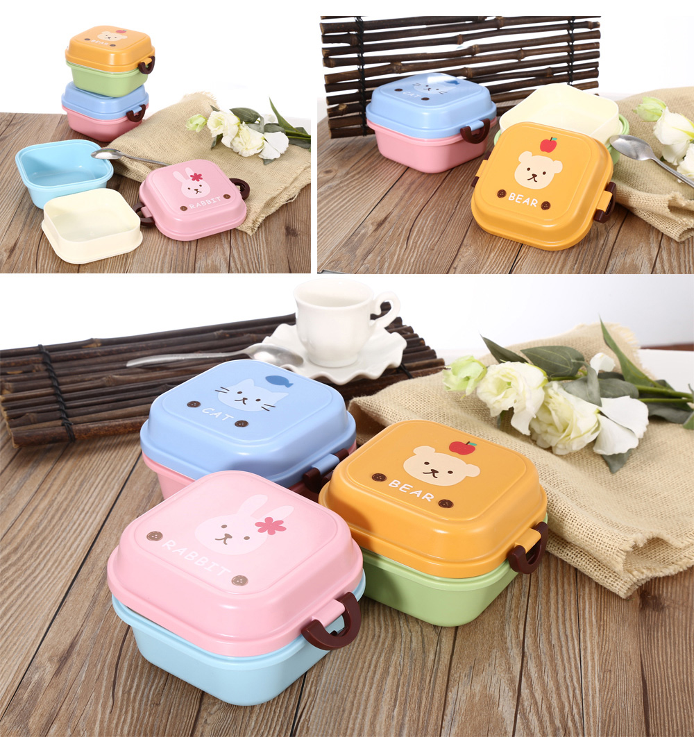 Bangduo Cartoon Animal Microwave 2 Layer Lunch Box Food Container for Kids