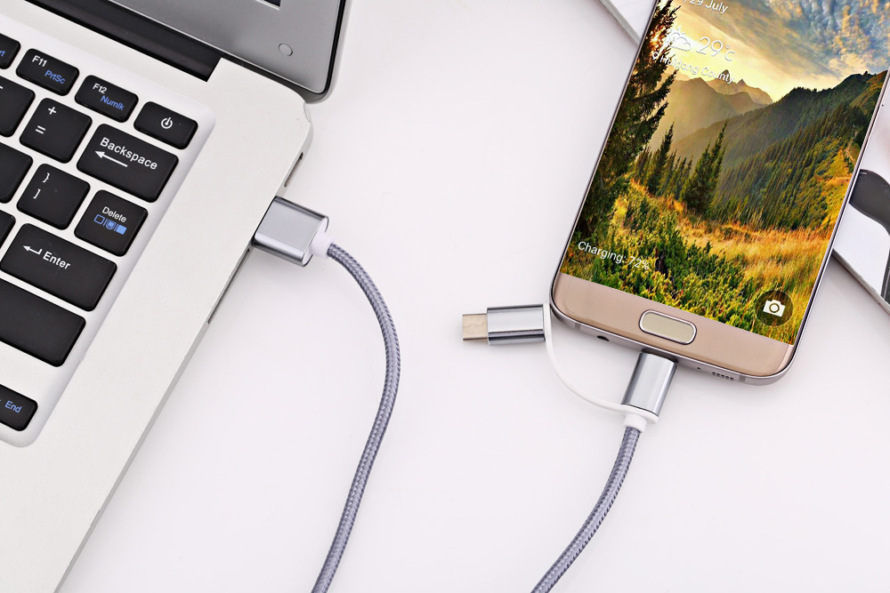 2 in 1 Micro USB Nylon Braided Charge Cable with Type-C Adapter 1m