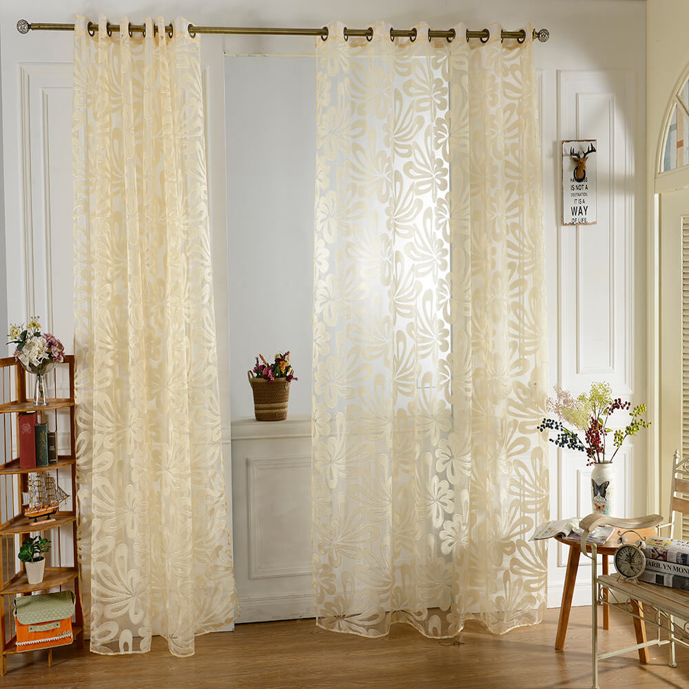 100 x 250cm European Flower Printed Tulle Window Curtains for Living Room Bedroom