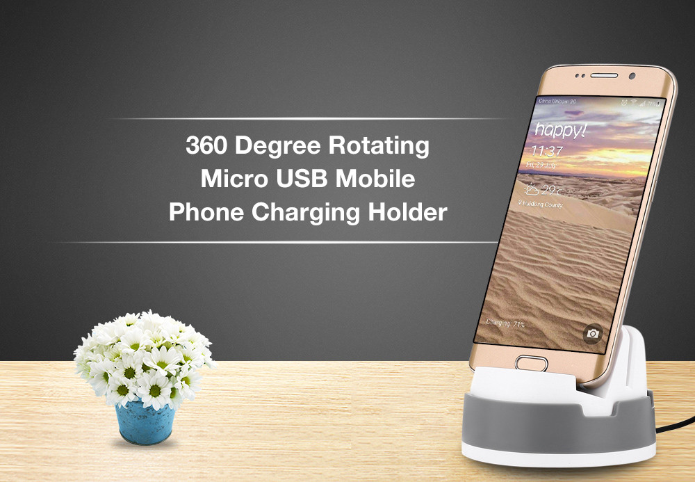 360 Degree Rotating Micro USB Mobile Phone Charging Holder